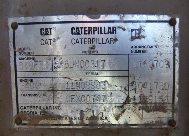 Cat 980FII 8JN00317