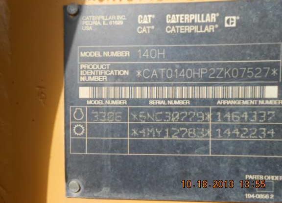 Cat 140H 02ZK07527