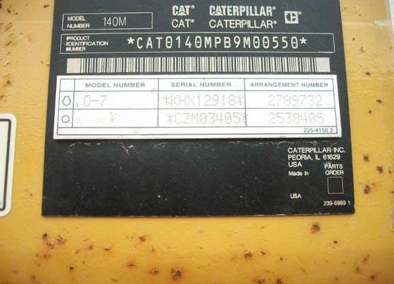Cat 140M 0B9M00550