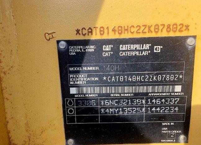 Caterpillar 140H 2ZK07802