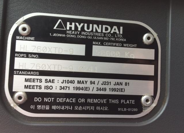 Hyundai HL760-9 HHIHLL01CB00241