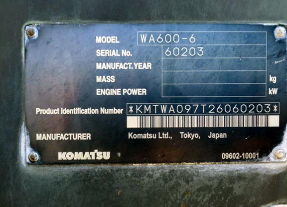 Komatsu WA600-6 60203